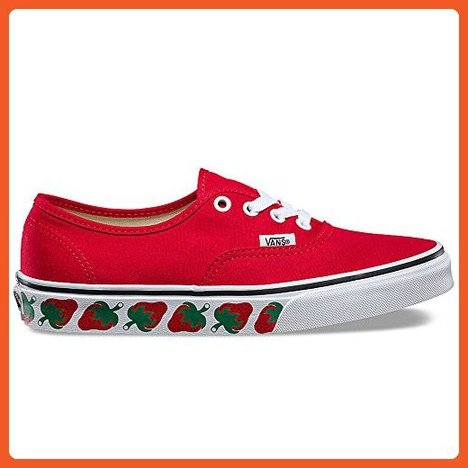 0c132b7c25 Vans Authentic (Strawberry Tape) Fashion Sneaker Red/Black Size 3.5 ...