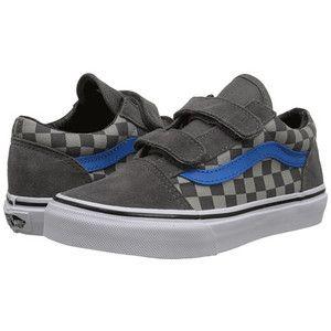 Vans Kids Old Skool V Little KidBig Kid Checkerboard Pewter