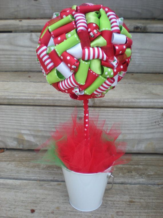 Ribbon Topiary Christmas Lime Green Red by TangledRibbonParties, $20.00