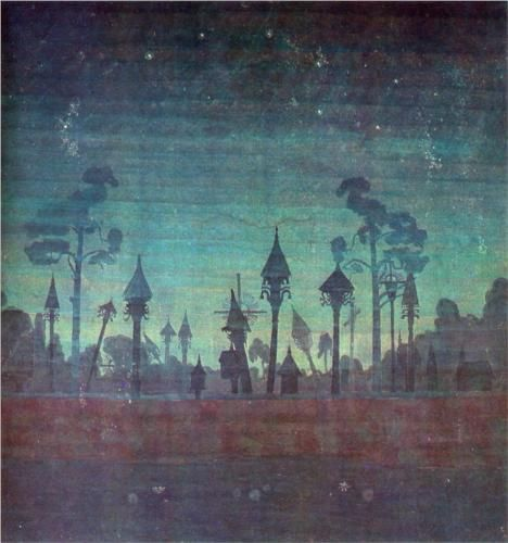 Lithuanian Graveyard (1909) by Lithuanian artist Ciurlionis
