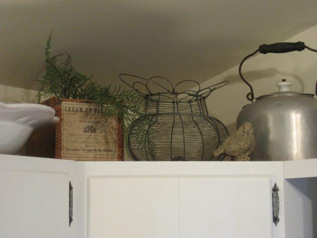52 FLEA: Lake Kitchen Progress in 2019 | Vintage kitchen ... on decorating tips above kitchen cabinets, wasted space above kitchen cabinets, interior decorating above kitchen cabinets,