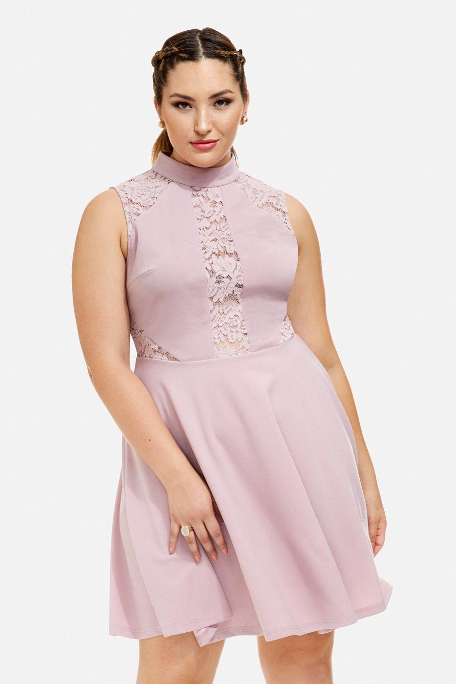 Plus Size Kara Lace Insert Skater Dress | Fashion to Figure ...