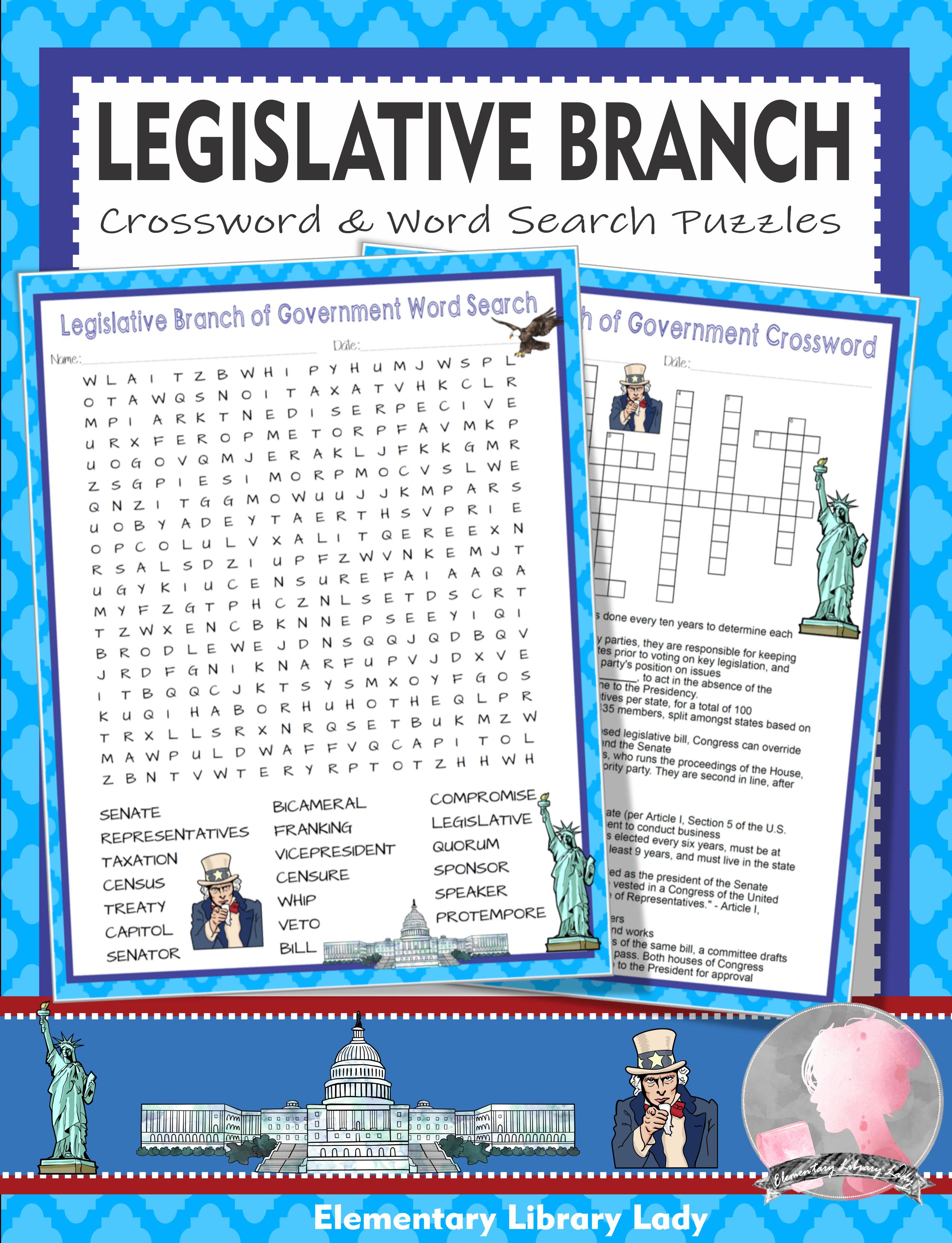 Legislative Branch Of Government Activities Crossword