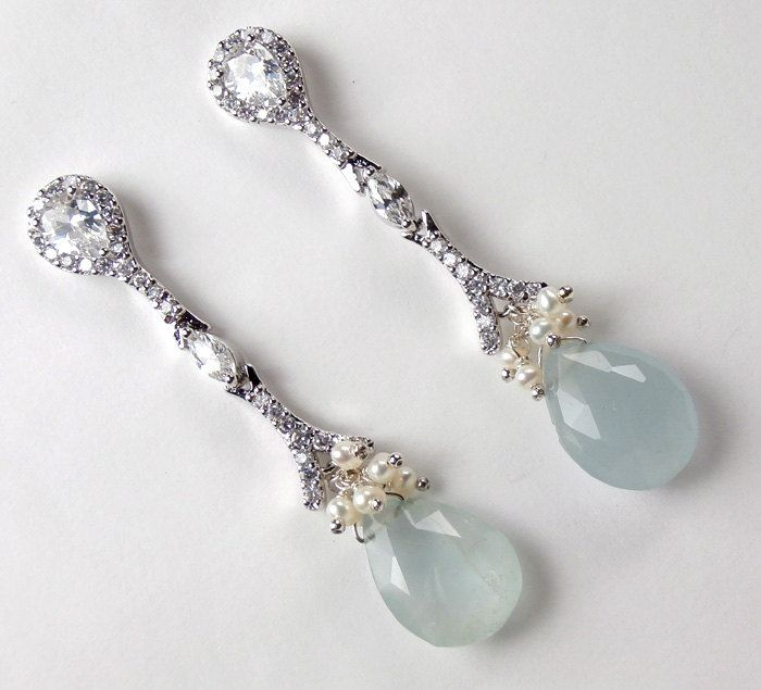 Bridal Jewelry Blue Wedding Earrings Aquamarine Long Dangle Gemstone Sterling Silver Pearl Cer Cz Post Wire Wred 135 00 Via Etsy
