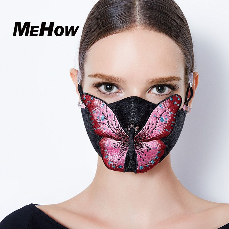 Women Mask Butterfly 1pcs Rubber Mouth Mehow Silicone Black