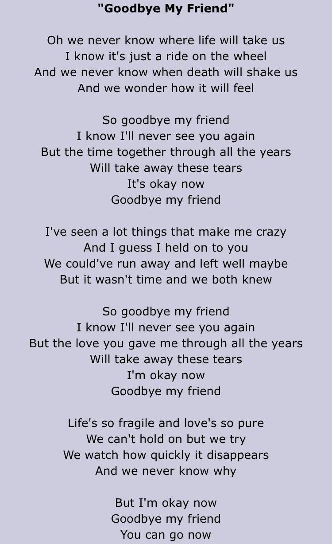 Goodbye My Friend Linda Ronstadt Lyrics Goodbye My Friend My Friend Quotes Friends Quotes