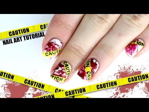 Packapunchpolish caution tape with blood splatter nail art with packapunchpolish caution tape with blood splatter nail art with video tutorial prinsesfo Choice Image