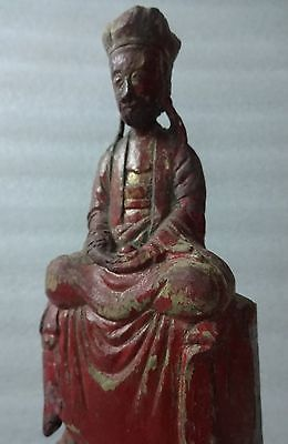 """Ancient Chinese Carved Deity w/Original Polychrome – 11"""" Tall"""