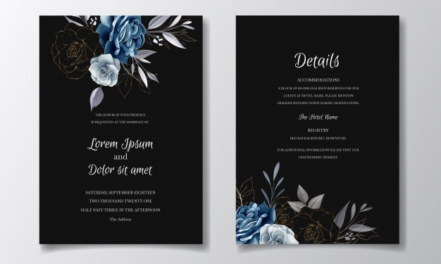 Navy Blue Floral Wedding Invitation Card Template With Golden Leaves And Watercolor Floral Wedding Invitations Floral Wedding Invitation Card Wedding Invitation Cards
