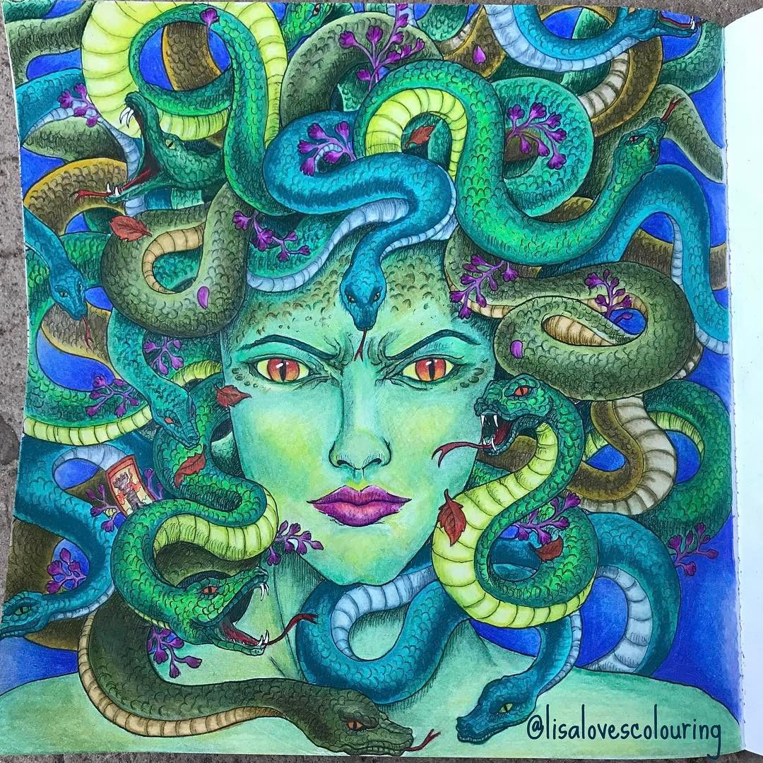 Finished My Gorgeous Gorgon From Mythomorphia Joining In On The Morphiamay Color Along Hosted Enchanted Forest Coloring Book Medusa Artwork Coloring Books