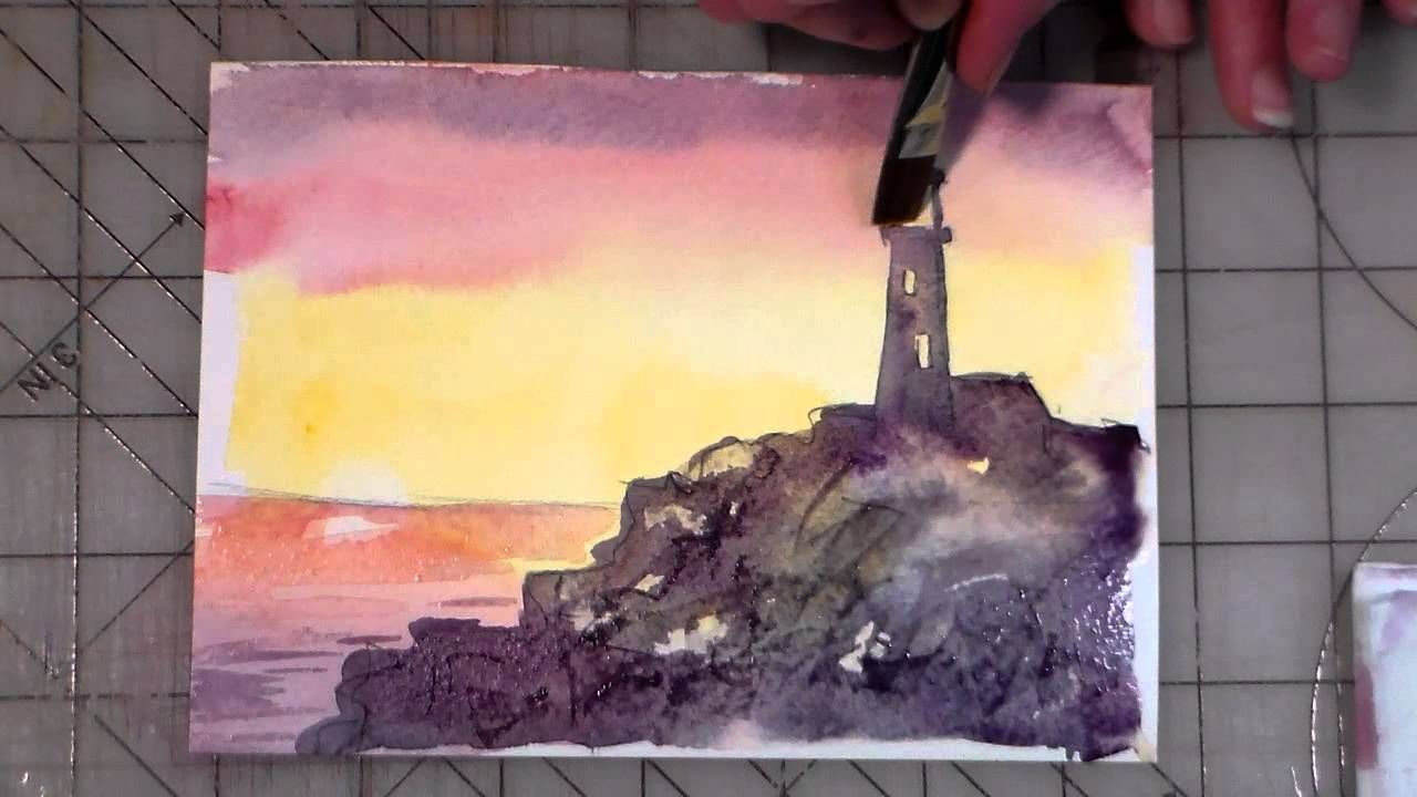 Beginner Watercolor Lighthouse Tutorial Painting Tutorial