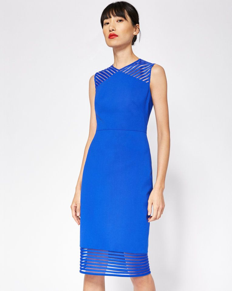 Mesh detail bodycon dress - Bright Blue   Dresses   Ted Baker UK ...