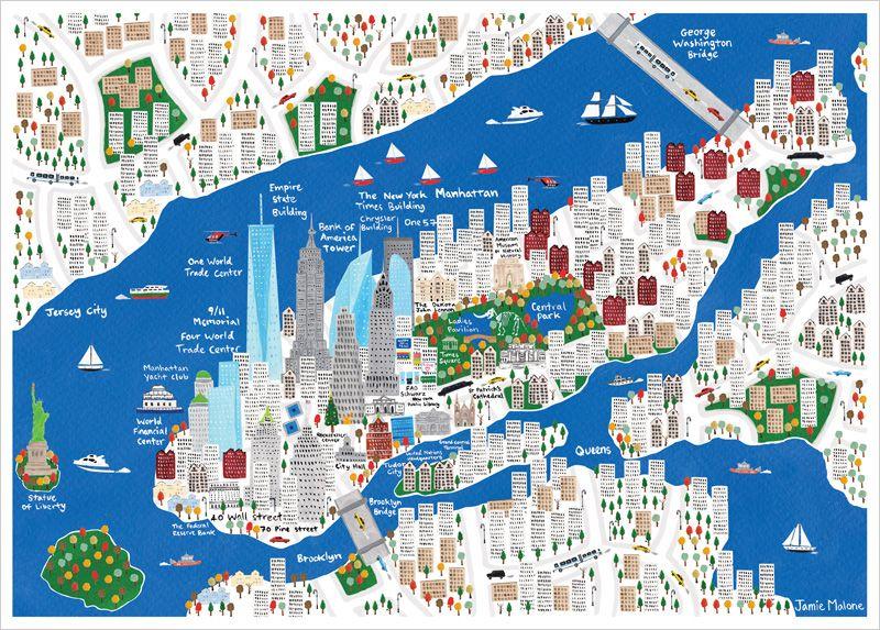 new york city map jamie malone l 39 affiche moderne. Black Bedroom Furniture Sets. Home Design Ideas