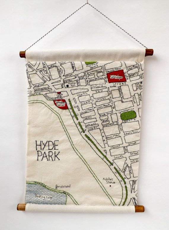 Marble Arch London Map.Marble Arch London Embroidered Map Wall Hanging Bordando