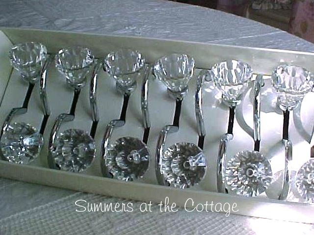 Crystal clear shower curtain hooks drawer pull style shabby romantic ...