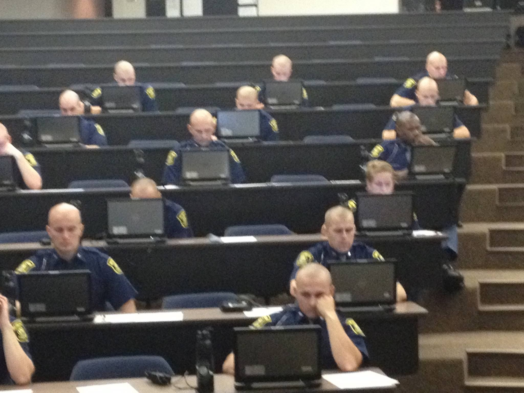 Michigan State Police Recruits Taking The Mcoles Licensing Exam