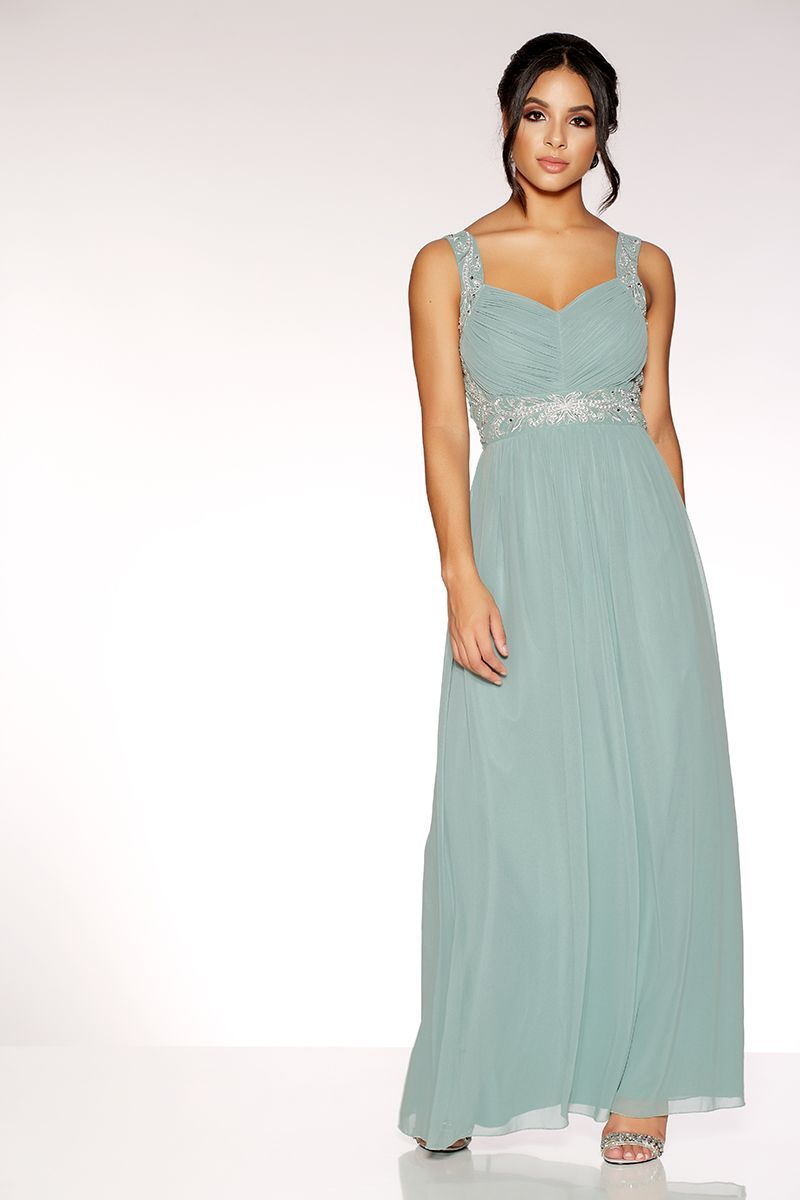 f015eeb557 Sage Green Chiffon V Neck Embellished Maxi Dress | Aoif Bridesmaid ...