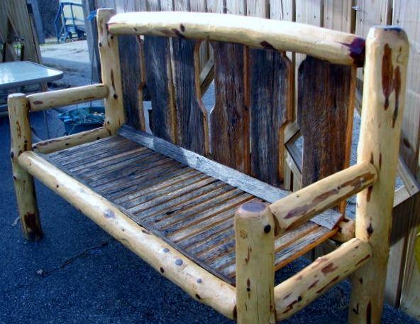 Cedar Log Bench With Barn Board Seat U0026 Back. Cutout On Back Makes The Shape  Of Boat Orr