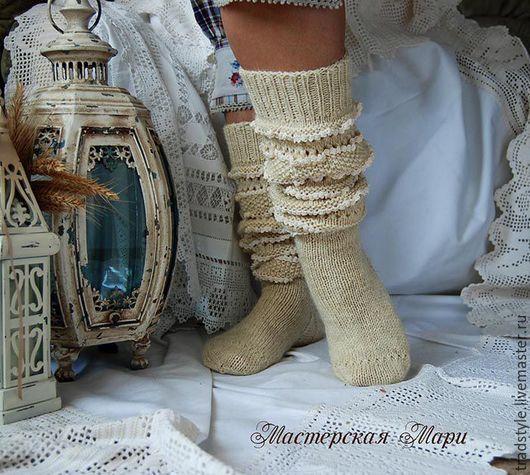 199bd89658802 Носки, Чулки ручной работы. Ярмарка Мастеров - ручная работа. Купить Высокие  шерстяные носки (гольфы) с ручным кружевом. Handmade.