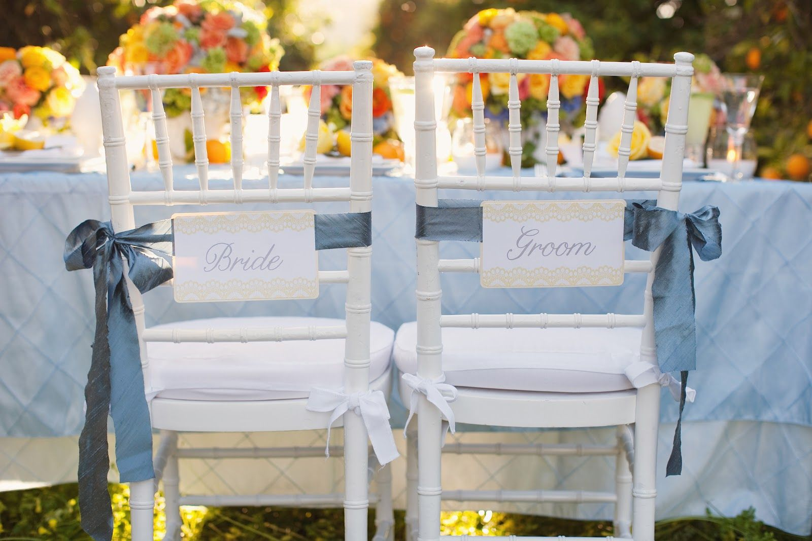 Citrus Yellow Orange Bride Groom Chairs Wedding Decor | Orange ...
