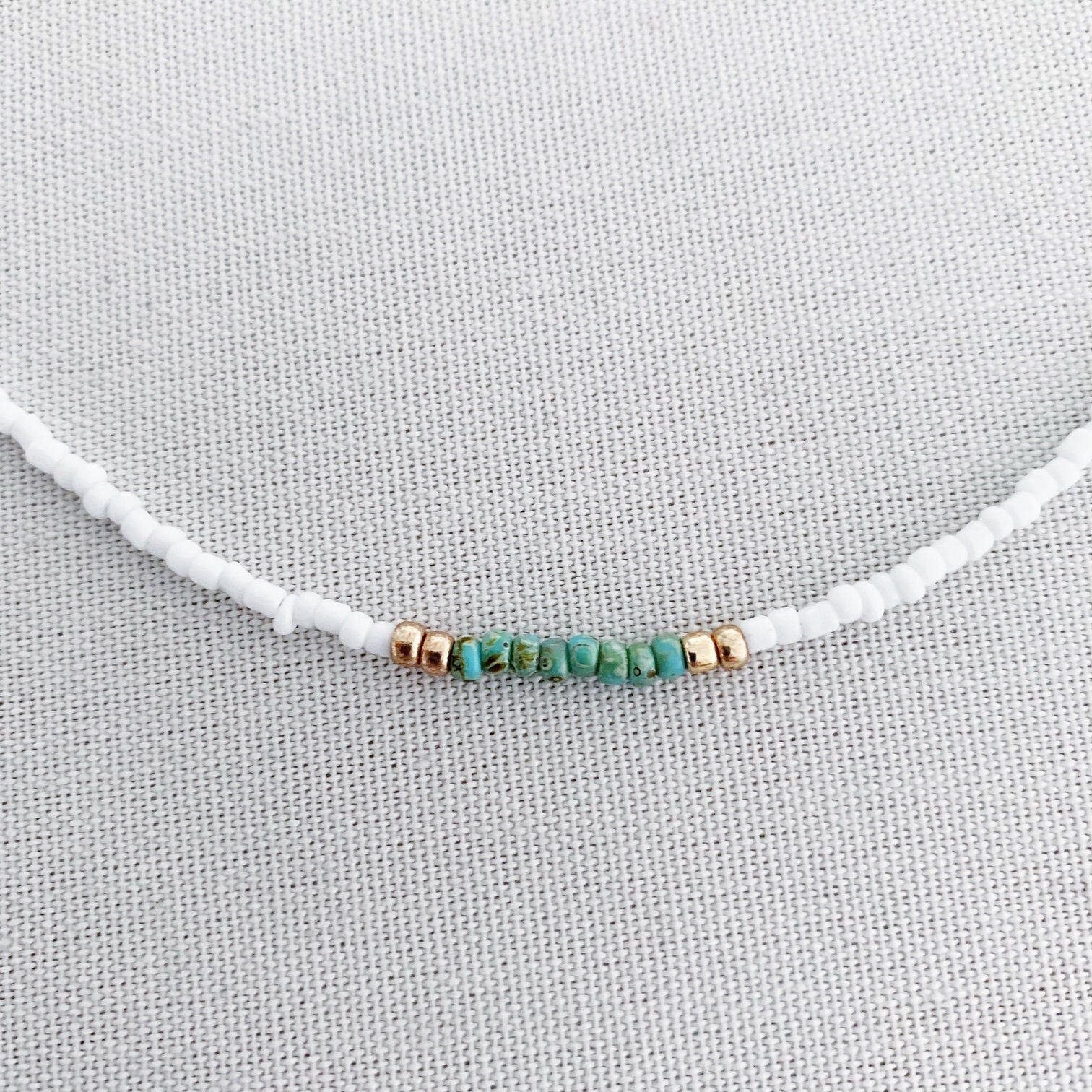 Photo of White beaded choker with gold and turquoise, boho choker, dainty choker, beach necklace, summer necklace, tiny beaded choker