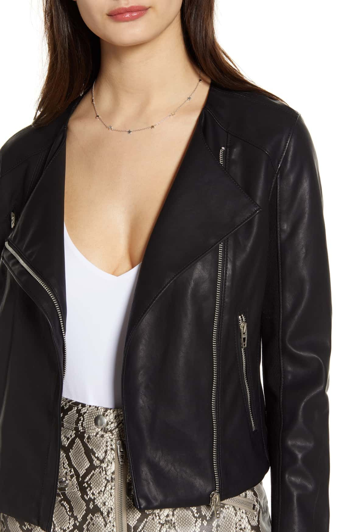 BLANKNYC Record Breaker Collarless Faux Leather Moto