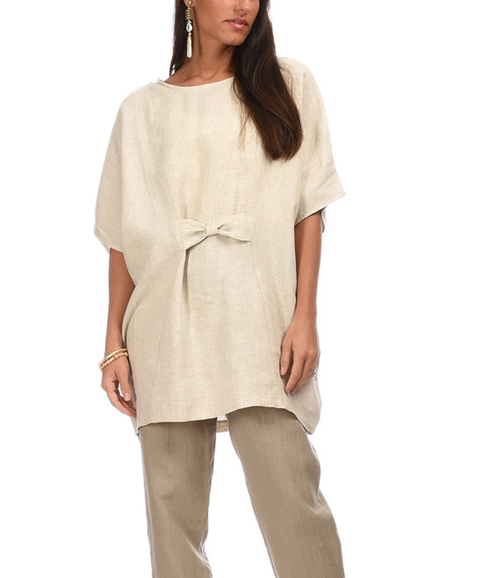This Beige Bow-Tie Linen Tunic by Eva Tralala is perfect! #zulilyfinds