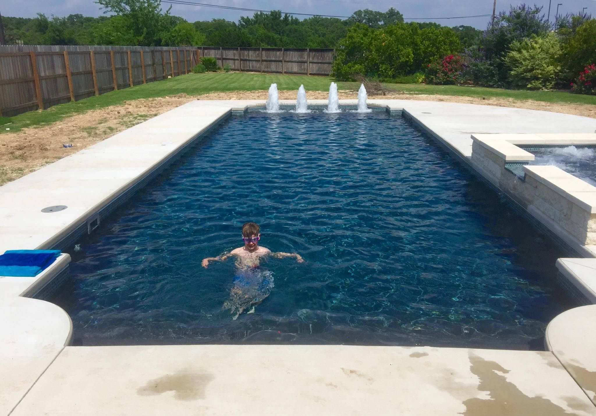 We installed this Regulus fiberglass pool by Trilogy pools. The pool ...