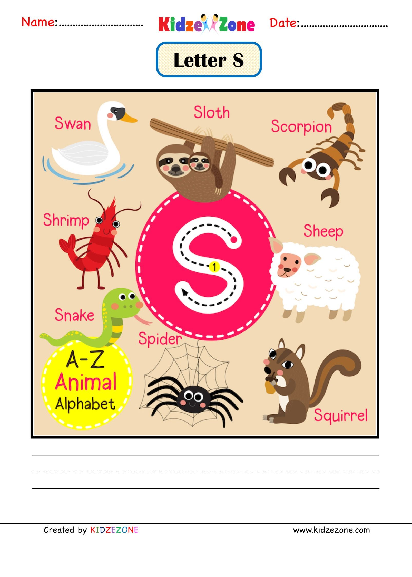 Letter S Picture Card In