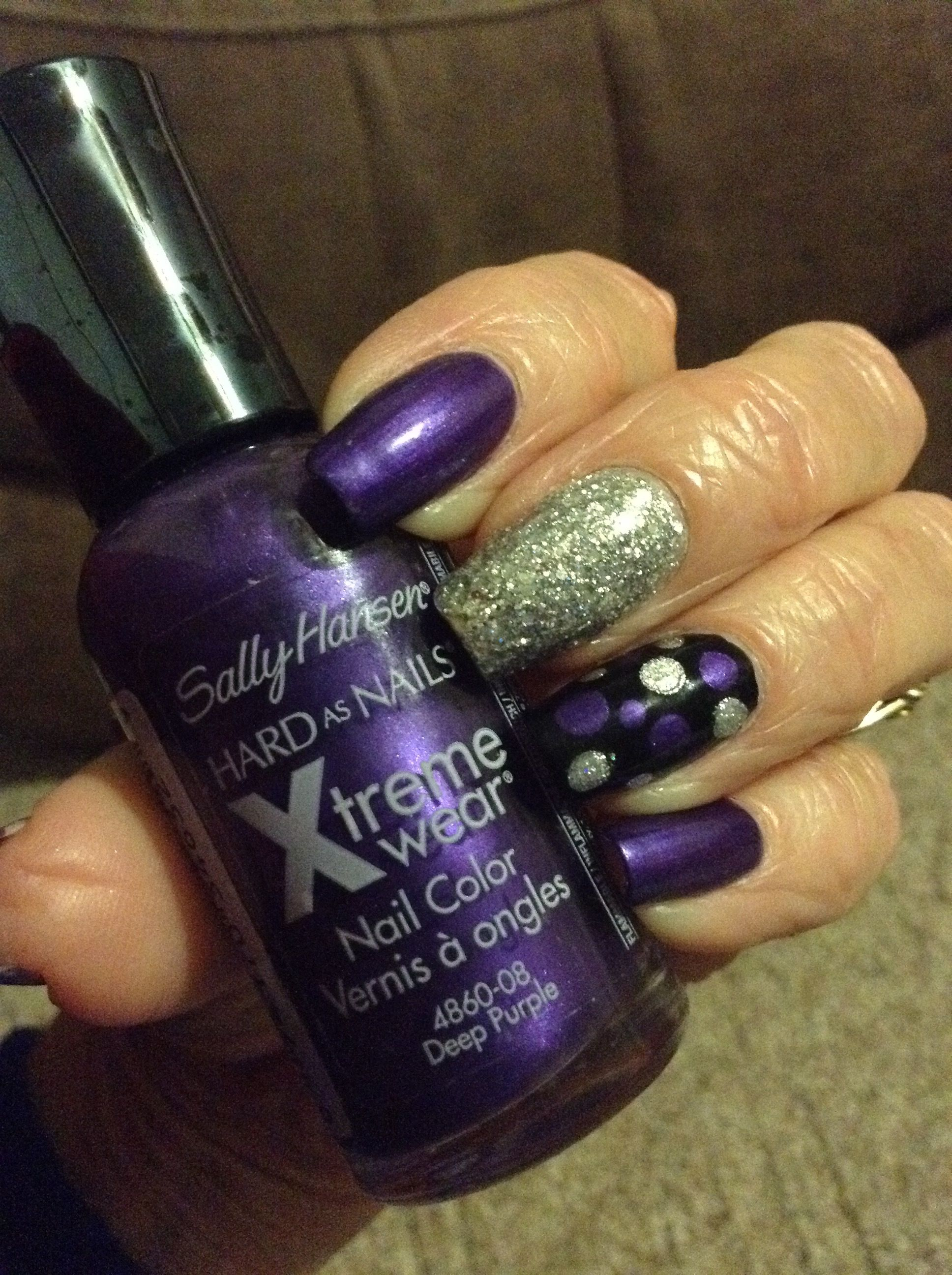 Sally Hansen Xtreme Wear/Deep Purple, purple nails, silver nails ...