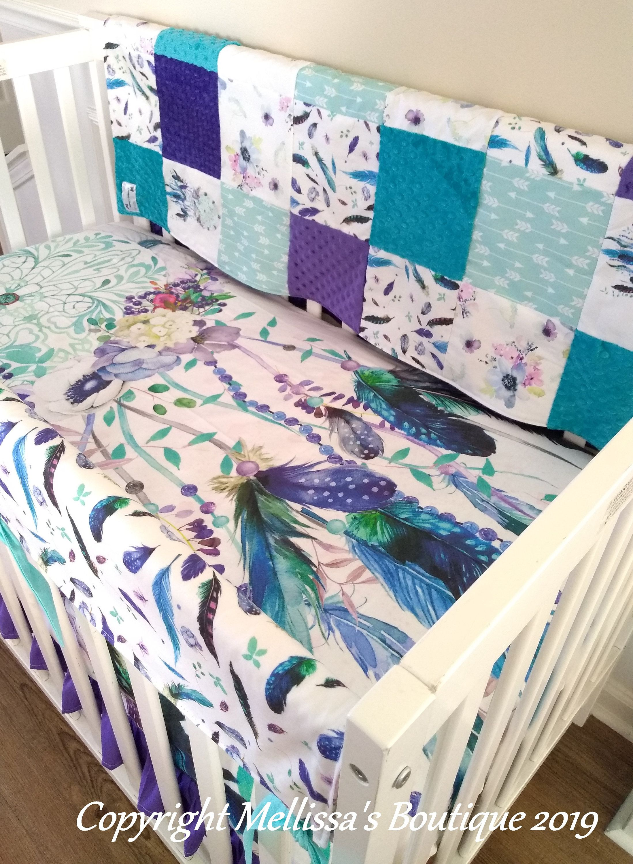 Tribal Boho Dream Catcher Purple Teal Floral Feathers Etsy Crib Bedding Girl Girl Crib Bedding Sets Baby Girl Crib Bedding