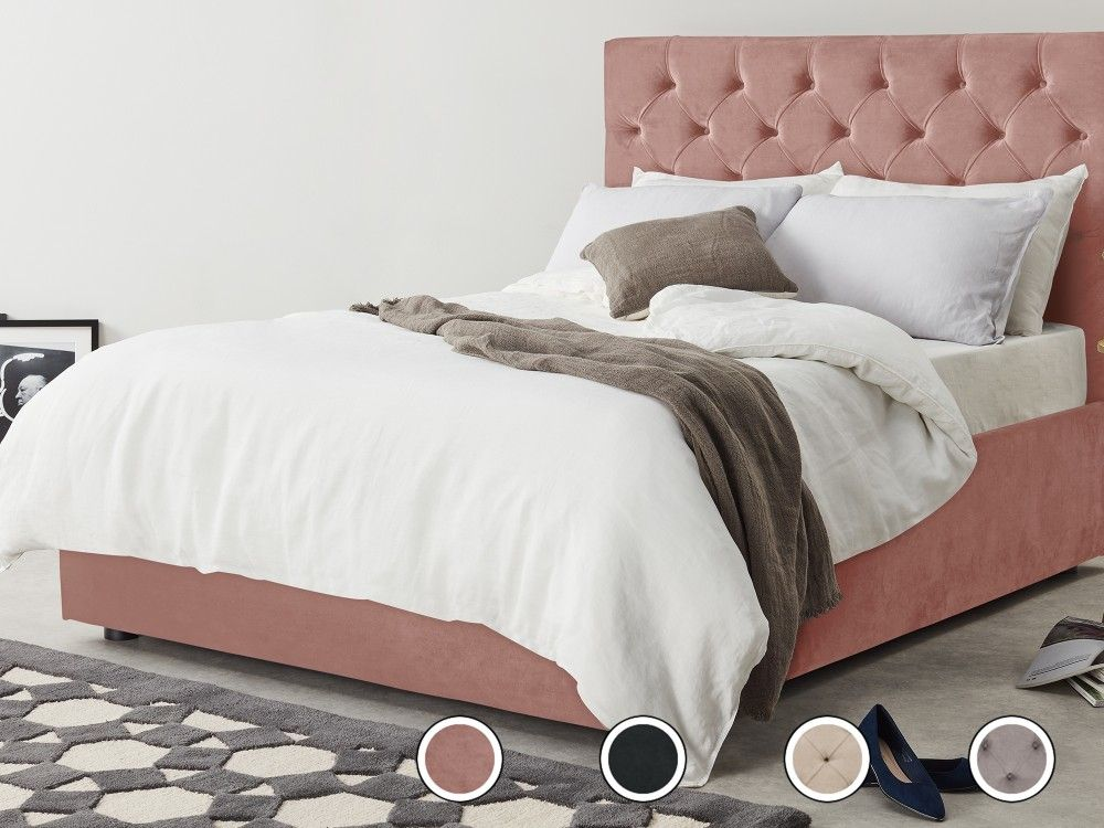 Skye Double Bed With Storage Blush Pink Velvet From Made Com