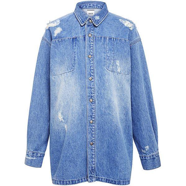 Edit - Workwear Denim Shirt Jacket ($204) ❤ liked on Polyvore featuring outerwear, jackets, workwear jacket, denim jacket, blue denim jacket, oversized denim jacket and oversized jacket