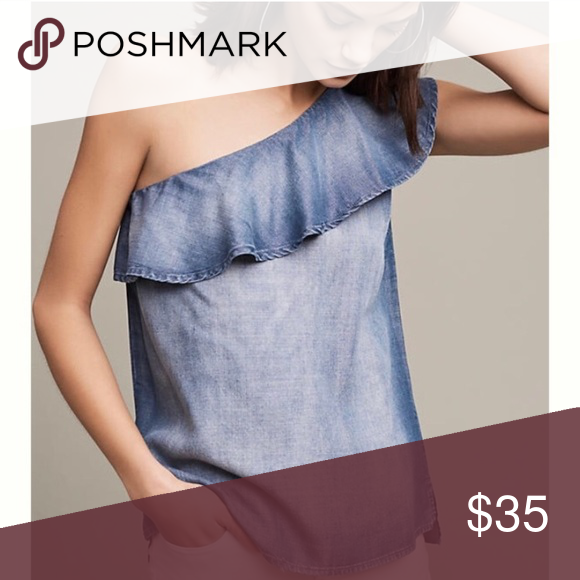 bc223f58de72 Anthropologie Cloth Stone 1 Shoulder Chambray Top | Chambray top ...