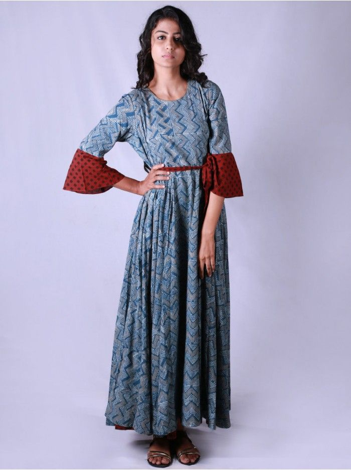 Blue Red Hand Block Printed Cotton Umbrella Dress  49d1b6148