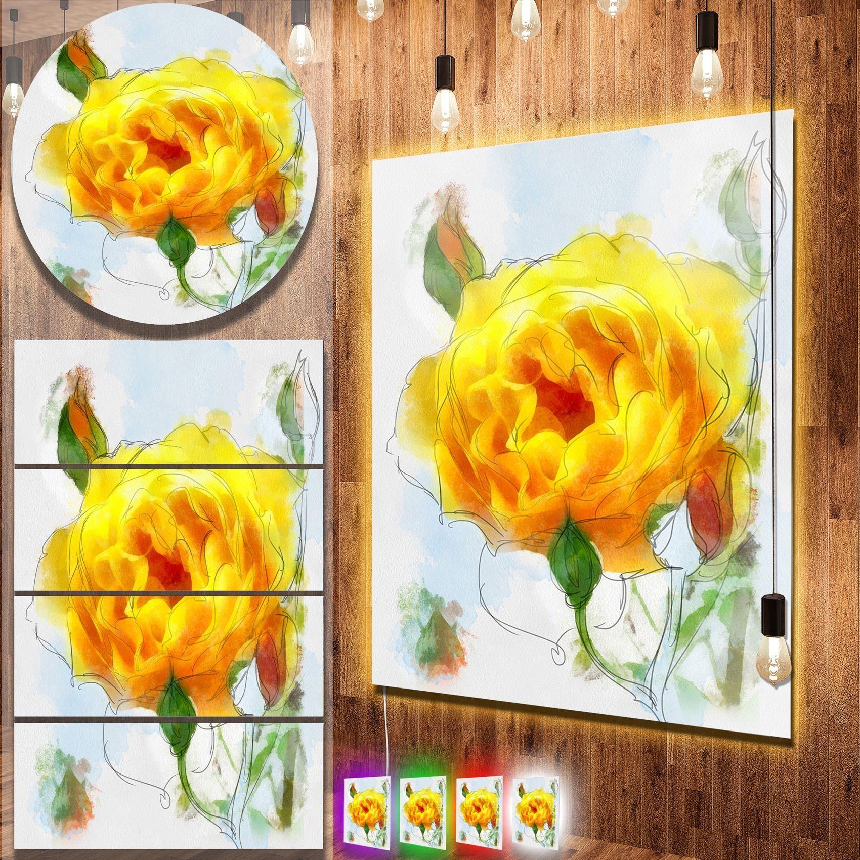 Designart \' Rose with Rose Buds Sketch\' Floral Metal Wall Art ...