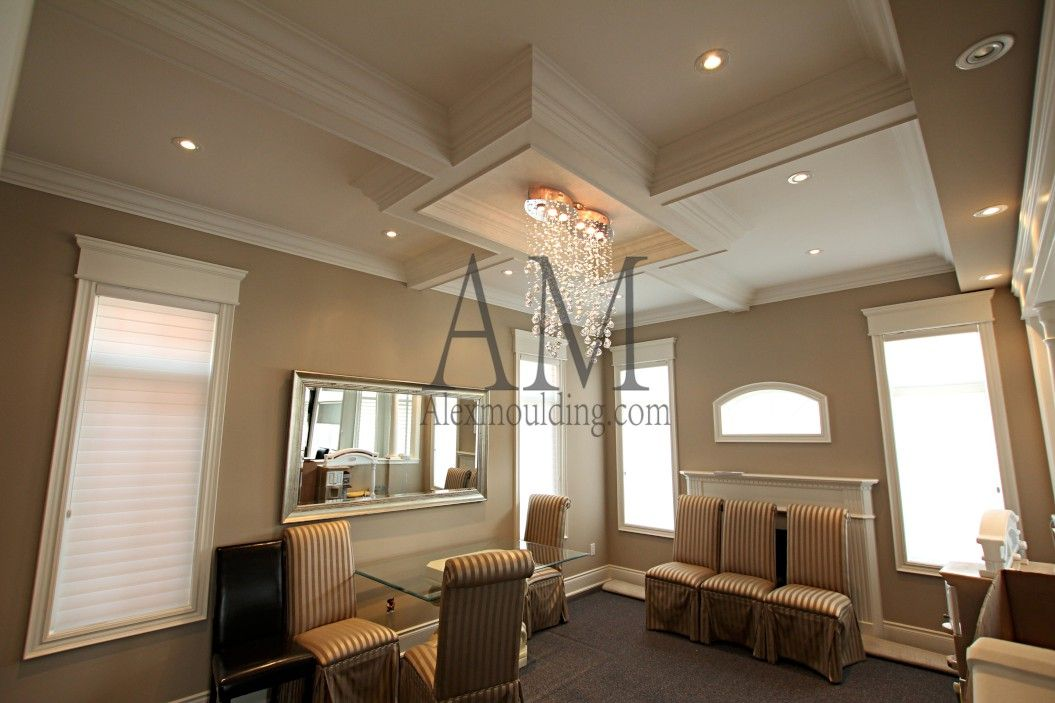 Classic Stretch Coffered Ceiling Coffered Waffle Ceilings - Cornice crown moulding toronto wainscoting coffered ceiling