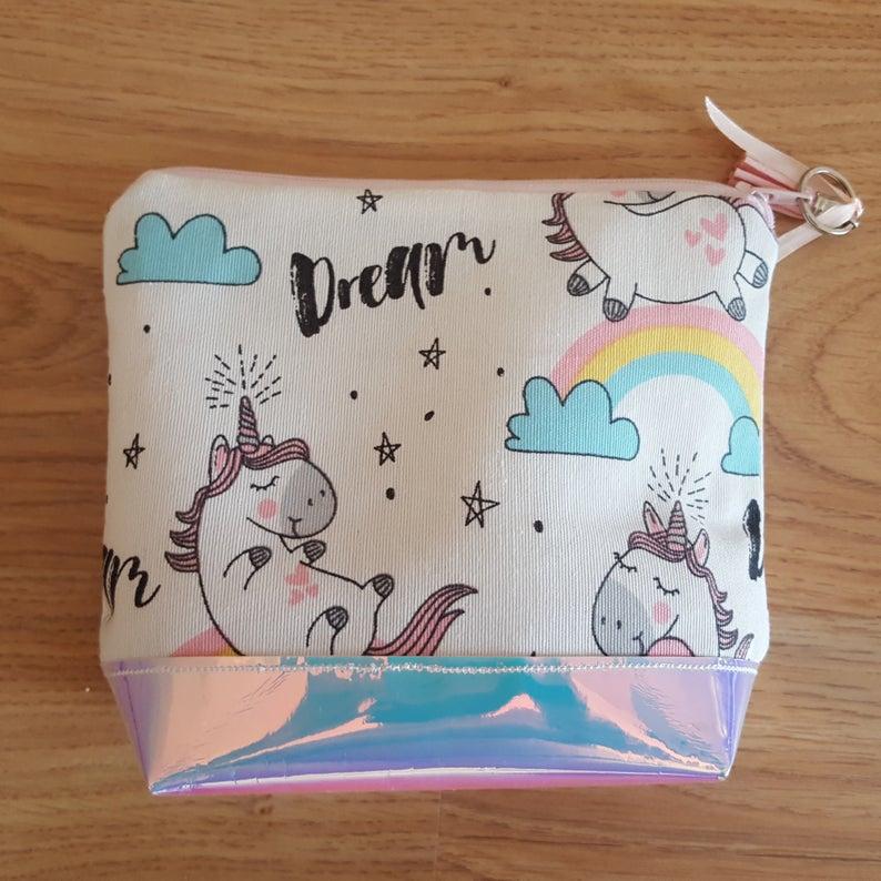 Unicorn print coin purse / medicine pouch, zipper pouch