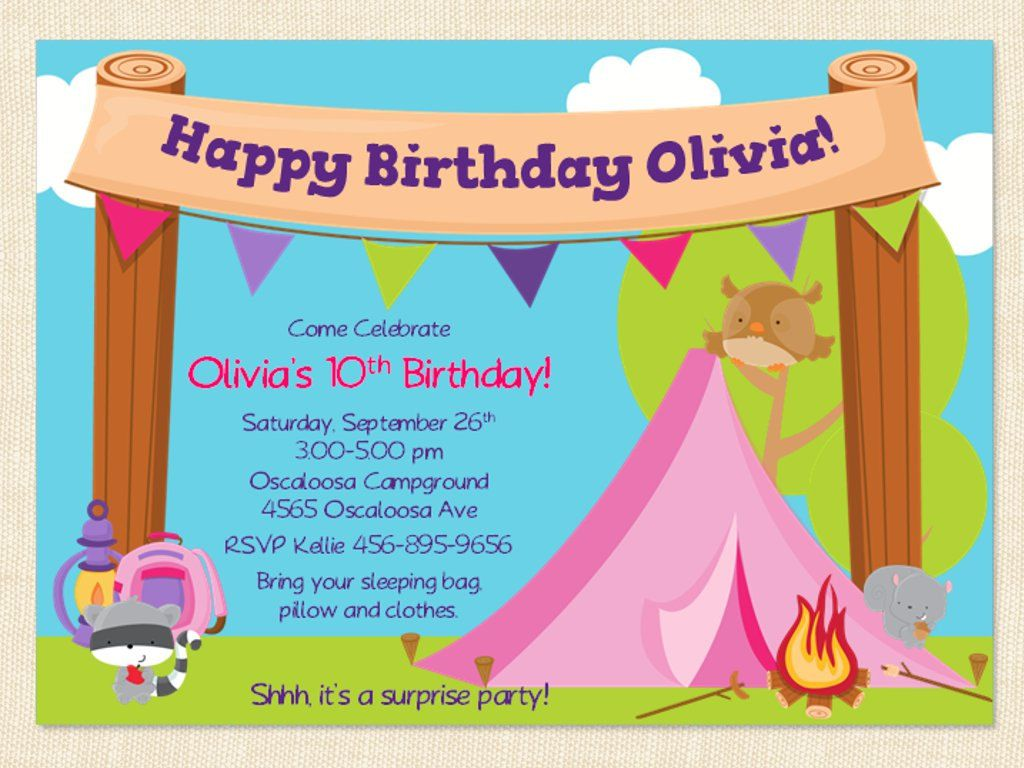 Free Printable Camping Birthday Invitation Template | Party- Kids ...
