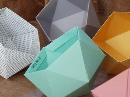 Origami Aqua Geo Bowl Geometric Storage Box Paper Desk Organizer