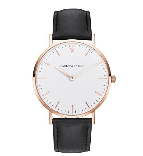 Armbanduhr damen schwarz  Paul Valentine Armbanduhr | Marina Rose Gold Schwarz | Damen Uhr ...