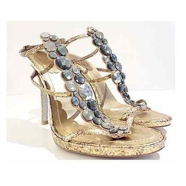 Pre-Owned Womens Rene Caovilla 100% Authentic Gold Python Sandals (23950 ALL) ❤ liked on Polyvore featuring shoes, sandals, ankle strap stilettos, stiletto sandals, rene' caovilla sandals, jeweled sandals and gold sandals