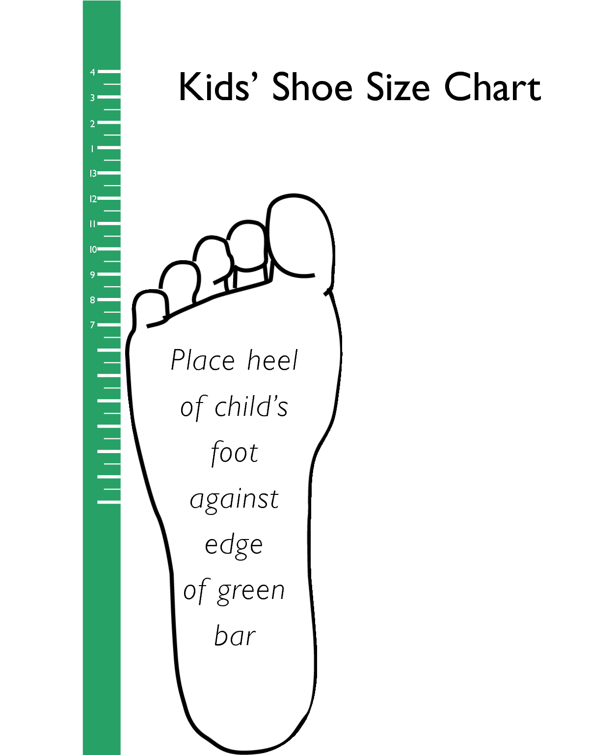 Kids' Sock Size Chart Kids' feet grow fast! Make sure your kids are wearing the right sock size Kids' Socks are usually labeled with either shoe size, a alpha size (S-M-L) or a specific kids' sock size (number between 0 and 12). See size chart below to determine kids' sock size (both alpha size and specific sock size) from shoe size or from kid's age.