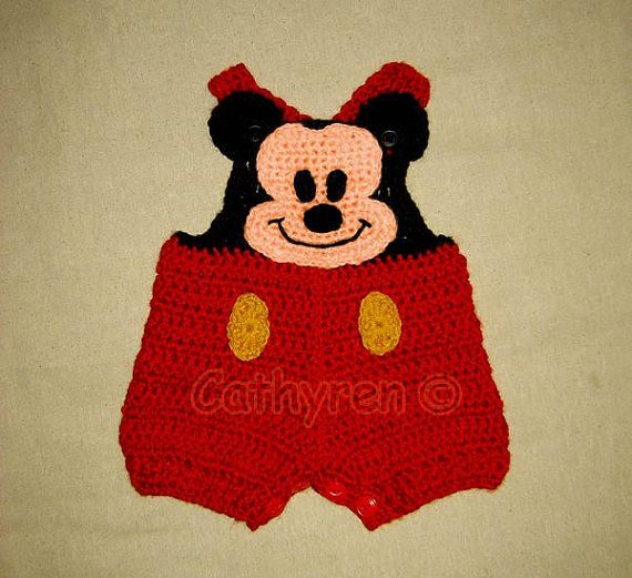Mickey Mouse Shortall, Overall shorts, Buttons at Legs for Easy ...