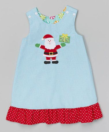 Another great find on #zulily! Turquoise Gingham Reversible A-Line Jumper - Toddler & Girls #zulilyfinds