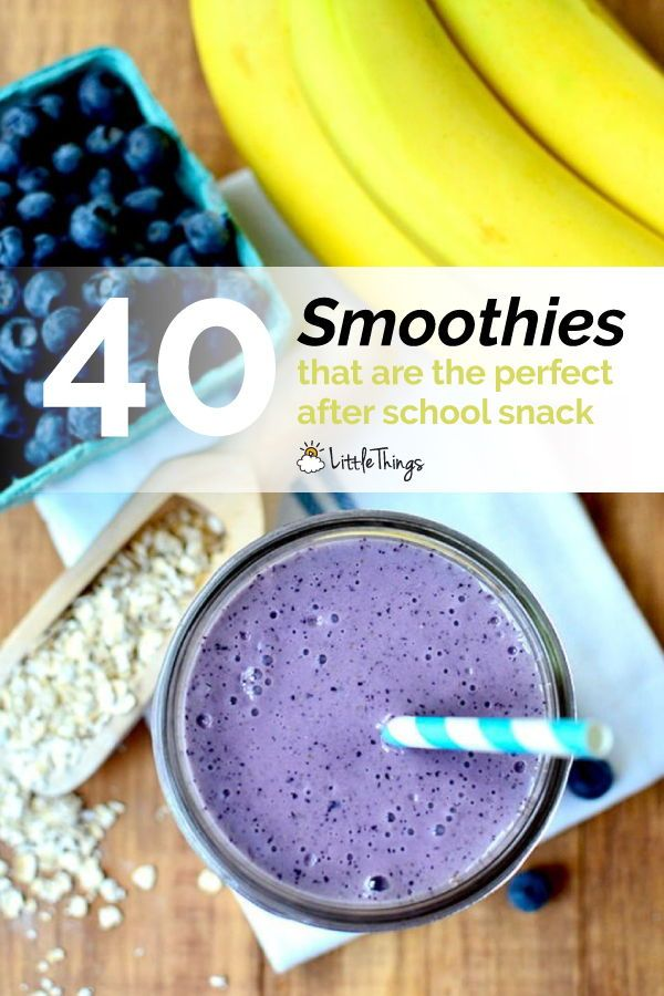 40 Smoothies that are the perfect after school snack: When kids come home from school ravenous and exhausted, help them fuel up with a healthy smoothie. #drinks #snacks #fruit #juice #healthydrinks #smoothies