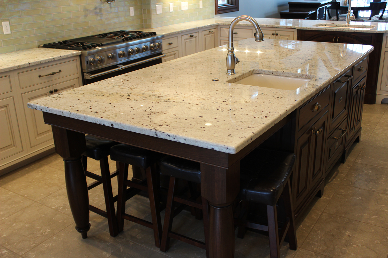Light Colored Granite Countertop Rustic Kitchen Kitchen