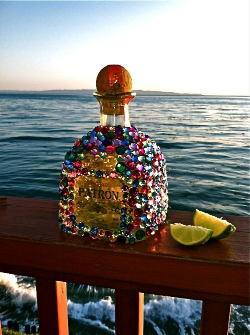 Bedazzle your friend's favorite liquor bottle for birthday or bachelorette gift. Cute!