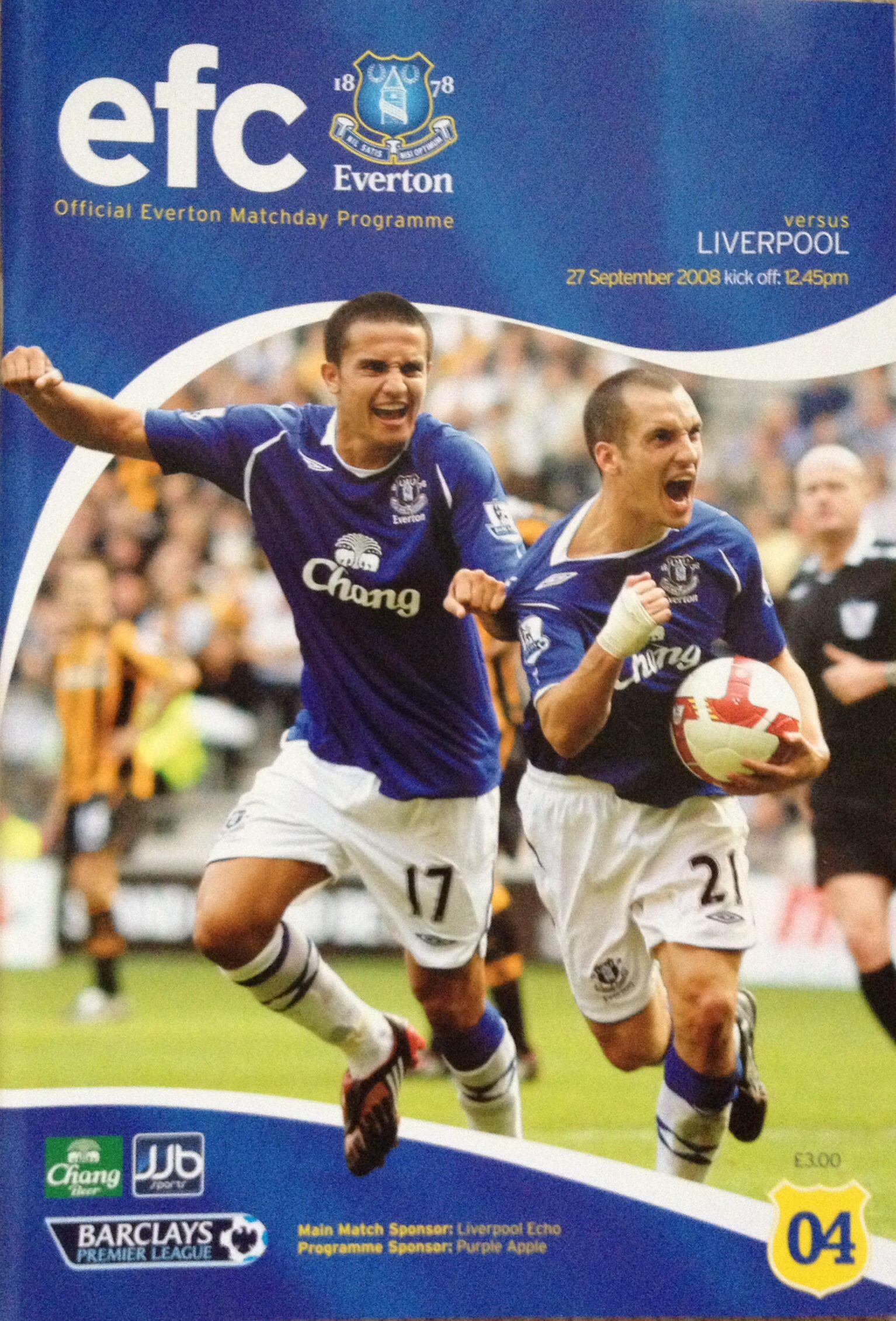 27/9/2008 Everton v Liverpool Football program, Everton