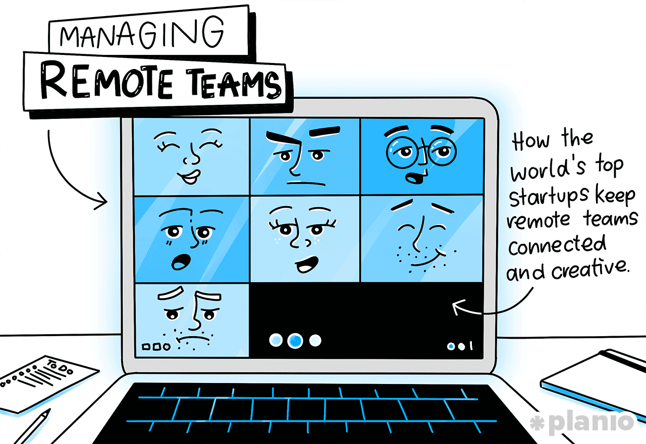 Managing Remote Teams How The World S Top Startups Keep Remote Teams Connect Planio Start Up Project Management Tools Remote